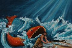 Jona uit de vis  30x30 acryl met materie op doek  50,-