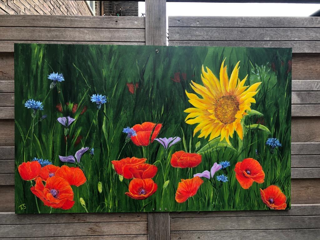 Schilderij opdracht voor schutting 60 x 1.22 acryl op trespa