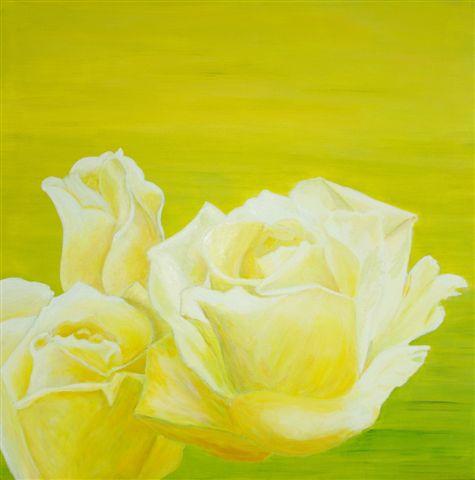 drie witte rozen