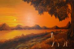 paard bij ondergaande zon