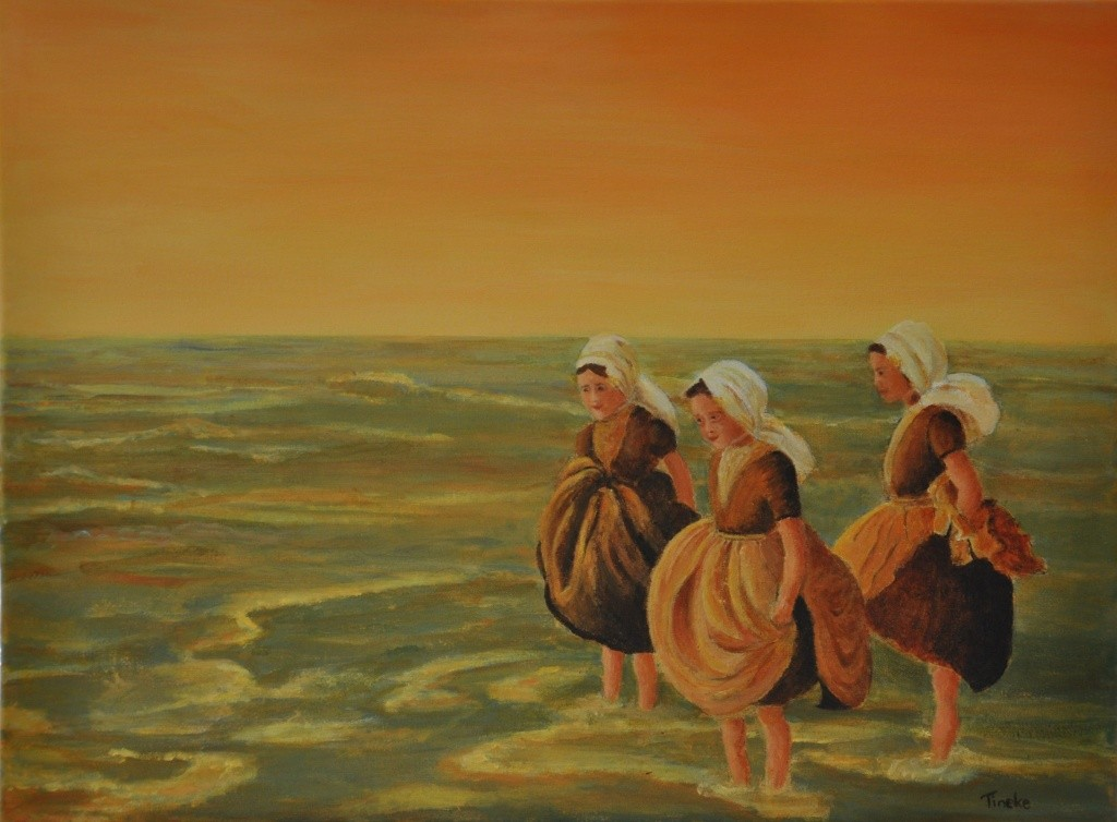 zeeuwse meisjes in de avondzon acryl op doek 30,-