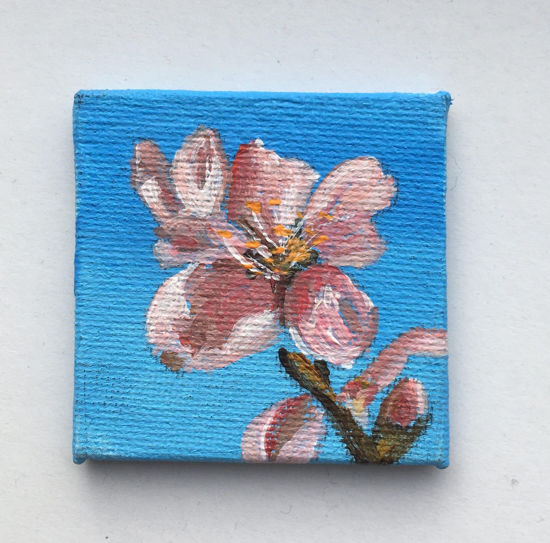 mini schilderijtje roze bloem 5x5 acryl op canvas 5,-