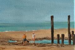 spelen op het strand  15 x15 acryl op doek 35,-