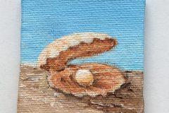 mini schilderijtje Parel 5x5 acryl op canvas  5,-