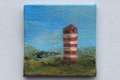 mini schilderijtje vuurtoren 5x5 acryl op canvas 5,-