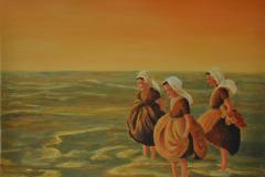 zeeuwse meisjes in de avondzon