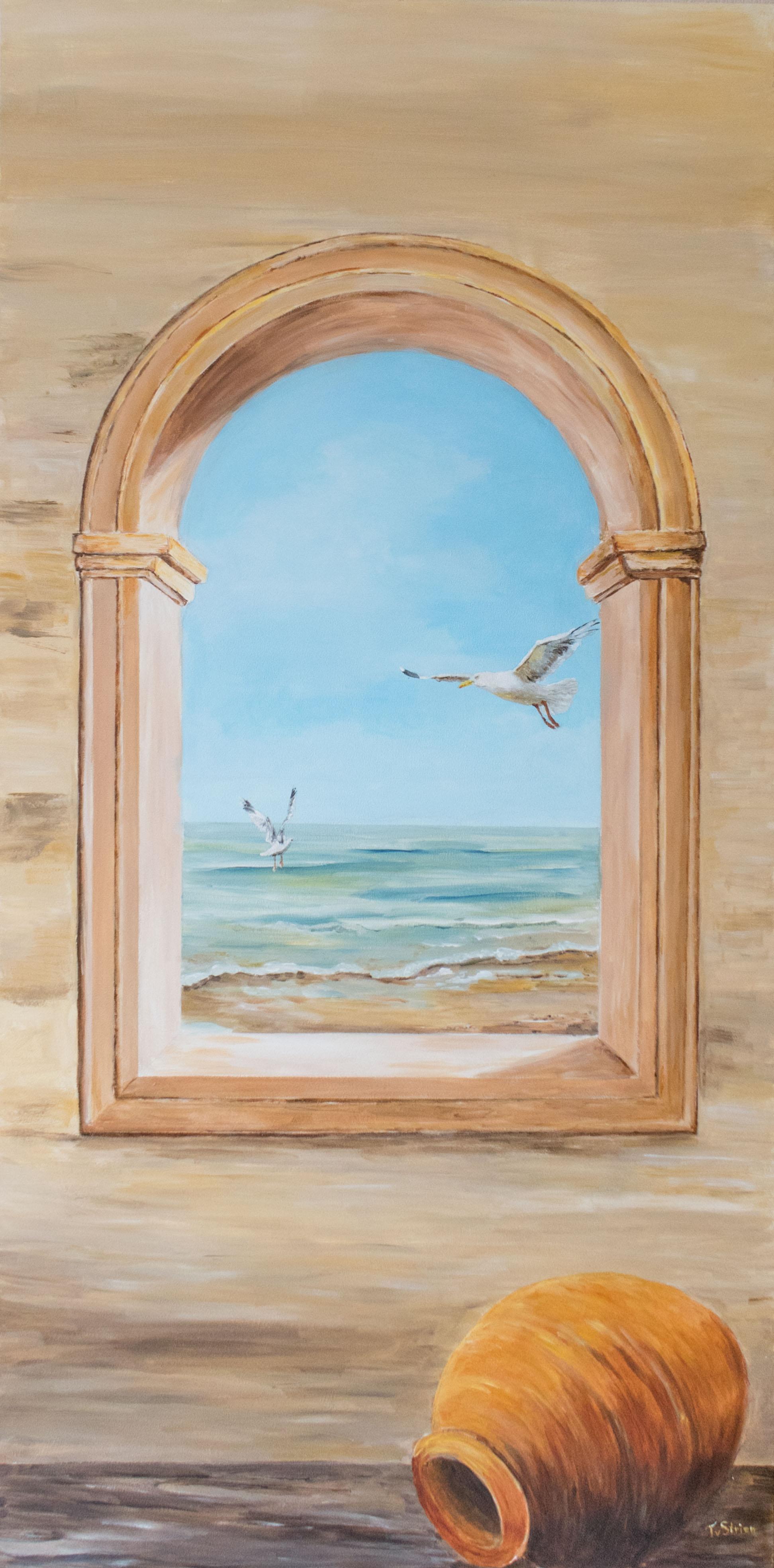 zeeschilderij op trespa (voor aan de buitenmuur 60  x 122)