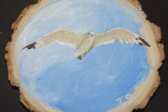 vliegende meeuw op houtschijf 10x10   7,50